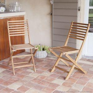 GreenPath 2 chaises de jardin pliantes Laemis en acacia