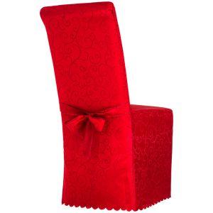 TecTake Housse de chaise avec motif et noeud en Polyester Rouge