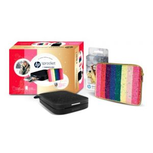 HP Imprimante photo Pack Sprocket 200 Noire Manoush + 1 paquet de 20 papiers + Housse