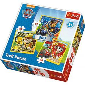 Trefl Puzzle 3 En 1 Modèle Paw Patrol 20-36-50 Pièces, 34839, Multicolore