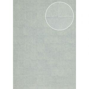 Atlas Papier peint aspect pierre carrelage INS-0805-7 papier peint texturé gaufré avec des figures géométriques satiné bleu gris-argent bleu pâle 7,035 m2
