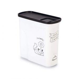 Image de Curver Conteneur de nourriture Le Diner est servi - 1 kg - 2 L - Blanc et noir - Pour chat
