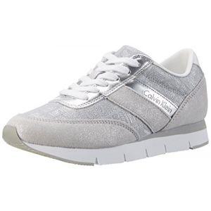 Calvin Klein Jeans Tea Metallic Jacquard/Suede, Sneakers Basses Femme, Argent (Light Silver), 37 EU