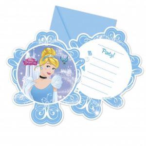 6 cartes invitations avec enveloppes Cendrillon