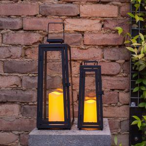 Lights4Fun Lot de 2 x Lanternes Solaires Noires en Métal avec Bougie LED pour Jardin