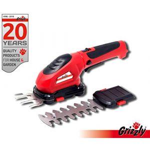 Grizzly Ciseaux à herbes et buissons à batterie, sans fil, 3,6 V 1,3 Ah, couteau herbe 8 cm, lame à arbustes 12 cm, change de couteau sans outil, avec protection couteau et chargeur