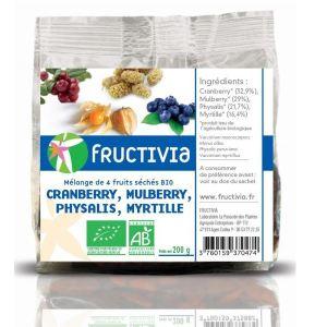 Fructivia Mélange de 4 fruits séchés Bio : Cranberry, Mulberry, Physalis et Myrtille (200g)