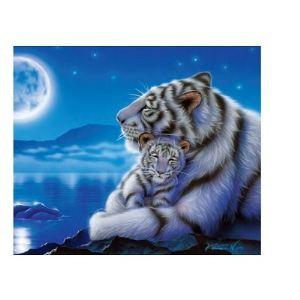 Clementoni Puzzle Maman tigre blanc et son bébé au clair de la lune 500 pièces