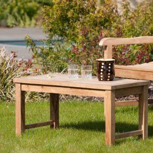 Table basse de jardin en teck massif 90 x 45 x 45 cm