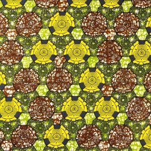 Craftine Tissu Wax Africain N°365 Fleurs Marrons et jaunes sur fond Vert - Par 50 cm