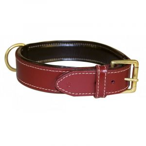 Bobby Collier Grand Chien Cuir haute Finition Rouge, Taille 60