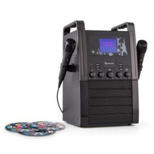 Auna KA8B-V2 BK Chaîne karaoké Lecteur CD AUX 2 micros 3x CD+G -noir