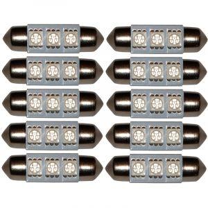 Aerzetix : 2x ampoule C5W 12V 3LED SMD rouge 36mm navette éclairage intérieur plaque d'immatriculation seuils de porte plafonnier pieds lecteur de carte coffre compartiment moteur