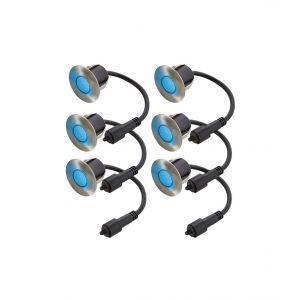 Easy Connect Lot 6 Mini Spot Inox à encastrer 5 Leds Bleu Ø4,5 CM IP67 65401
