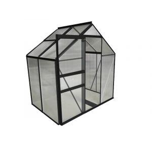 Image de Chalet et Jardin Serre en polycarbonate et aluminium peinte coloris anthracite 2,3 m² avec base