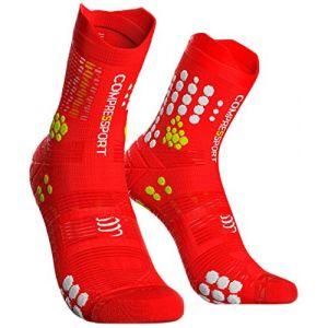 Compressport Chaussettes de course pour homme, Chaussettes de compression, rouge/blanc, T4
