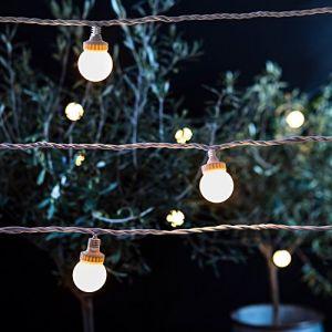 Lights4Fun Guirlande Guinguette Extérieure Raccordable avec 10 Globes LED Blanc Chaud, Série PRO