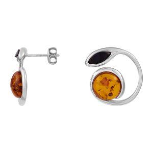 Cleor Boucles d'oreilles en Argent 925/1000 et Ambre Orange