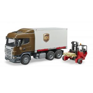 Bruder Toys 03581 - Camion de transport Scania R-Serie UPS avec chariot élevateur
