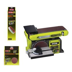 Ryobi Pack Ponceuse à bande et à disque stationnaire 370W RBDS46016 - 5 bandes abrasives BSS100A5 - 10 disques diamant SD150A10