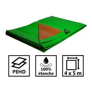 Toile de toit pour tonnelle et pergola 250g/m² verte et marron 4x5 m