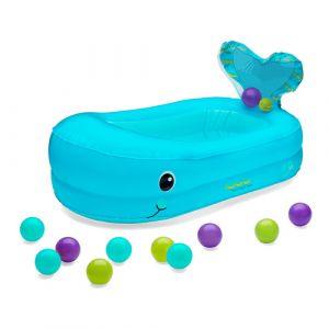 Infantino Baignoire gonflable baleine Bleu avec 10 jolies balles