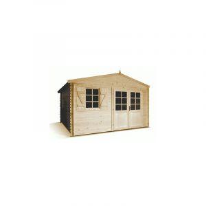 M&S Abri de jardin en bois brut 13,99 m2 madriers à emboiter de 28 mm