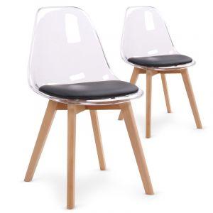 Declikdeco Lot de 2 chaises scandinaves en plexi transparent et coussin noir LASSO