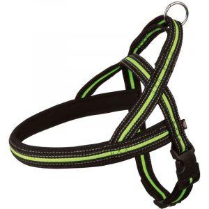 Trixie Fusion comfort harnais - M-L: 53-66 cm/25 mm, noir/vert