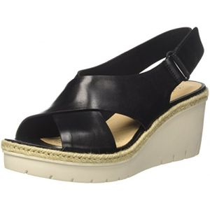 Clarks Palm Glow, Sandales Bride Cheville Femme, Noir (Black Leather), 37 EU