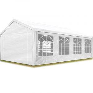 Intent24 Tente de réception 4x8 m pavillon blanc bâche PE épaisse de 180 g/m² imperméable tente de jardin.FR