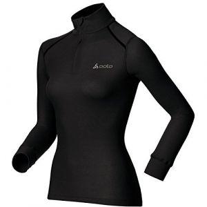 Odlo Originals Warm T-Shirt chaud col zipp manches longues femme Noir Taille Fabricant : XL