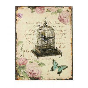 Décoration d'Autrefois Tableau vertical Cage A Oiseaux