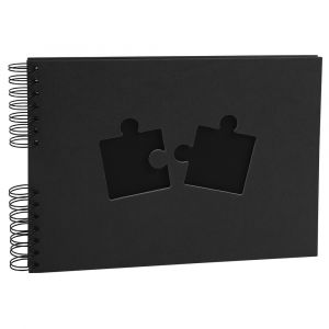 Exacompta 16028E - Album photos Puzzle Photos de classe 32x22 cm, 50p. noires/100 photos, reliure à spirales, coloris bleu