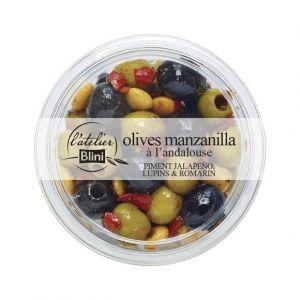 L'Atelier Blini Olives manzanilla à l'andalouse, piment d'Espelette, lupins & romarin