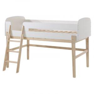 """Vipack Furniture Lit Enfant """"Kiddy"""" 90x200cm Naturel & Blanc"""