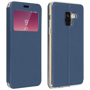 Avizar Housse Samsung Galaxy A8 Plus Etui Fenêtre Fente-Carte Coque Silicone Gel Bleu