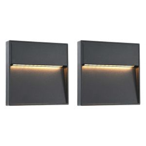 VidaXL 2 pcs Appliques murales LED d'extérieur 3 W Noir Carré
