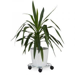 Relaxdays Porte plantes à roulettes avec freins support pot de fleurs rond en métal HxlxP: 6 x 32 x 32 cm, argenté - 4052025207151