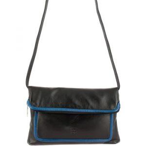 Dudu Sac pour Femme en Cuir Véritable à Bandoulière ou Pochette à Main Multicolore avec Fermeture Zip Noir