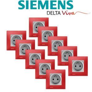 Siemens LOT 10 Prise 2P+T Silver Delta Viva + Plaque Rouge