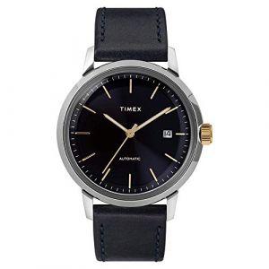 Timex Montre Homme Marlin Automatique Boîtier SST 40mm en Acier Cadran Bleu foncé Index doré - TW2T23100