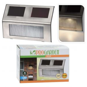 Progarden Lampes solaires à LED 4 pcs Acier inoxydable