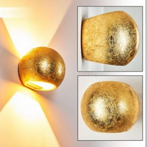 Hofstein Applique Flot boule dorée - Lampe en céramique projetant 2 cônes lumineux sur le mur - Applique murale moderne pour salon - salle à manger - couloir - Prise G9 avec 33 Watt.