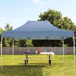 Intent24 Tente pliante / pliable PREMIUM 3x4,5 m sans bâches de côté en Polyester de qualité gris fonce.FR