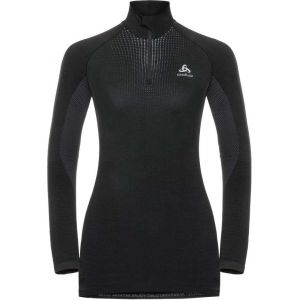 Odlo Performance Warm Turtle Neck LS Half Zip Shirt Women, black/ concrete grey L Maillots de corps