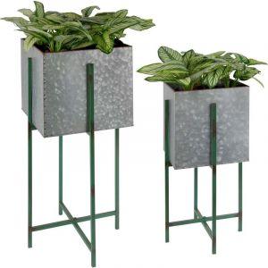 Esschert design Bac à fleurs carré sur pied en fer - Lot de 2 en différentes tailles