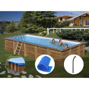 Sunbay Kit piscine bois Braga 8,00 x 4,00 x 1,46 m + Bâche hiver + Bâche à bulles + Douche