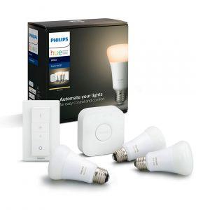Philips Hue White Kit de démarrage E27 Bluetooth - 3 ampoules E27 - Pont Hue - Interrupteur avec variateur