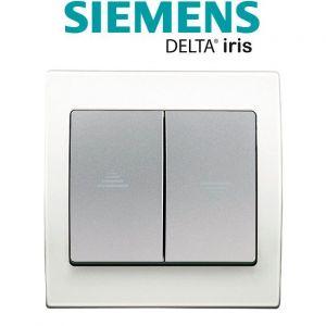 Siemens Interrupteur Volet Roulant Silver Delta Iris + Plaque basic Blanc